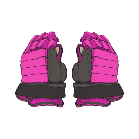 Isolated pink hockey gloves for woman on white background. Ice hockey sports equipment. Hand drawn Ice hockey gloves in cartoon style