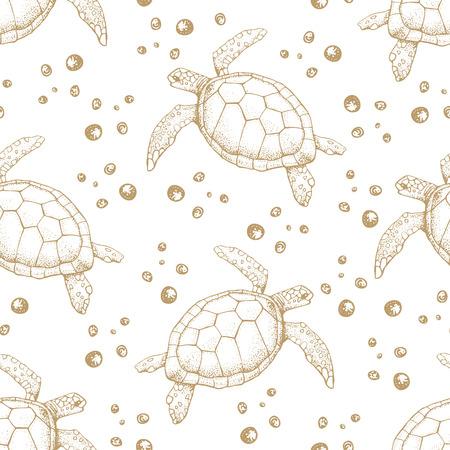 Patrón sin fisuras con tortugas marinas dibujadas a mano. Ilustración de vector