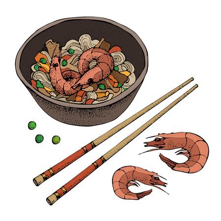 Noodles with shrimp. Hand drawn asian food illustration. Chopsticks. Great for banner, poster, menu decor. Иллюстрация