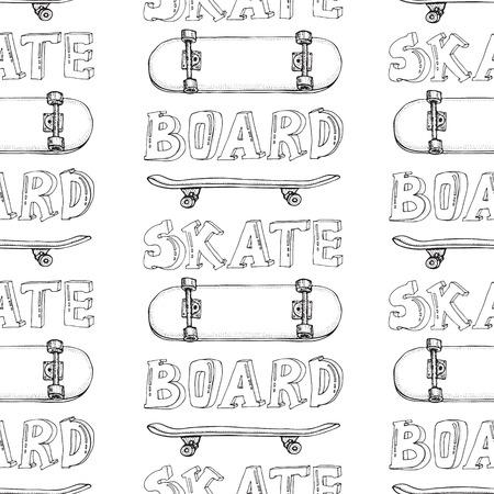 Modèle sans couture de planches à roulettes. Doodle Longboard, pennyboard. Fond de vecteur dessiné à la main