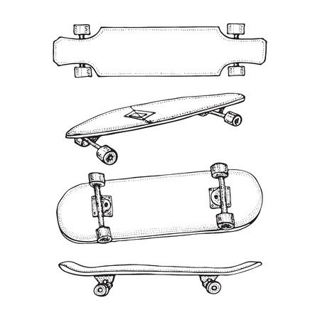 Conjunto de patinetas aislado en blanco. Doodle Longboard, pennyboard. Ilustración de vector dibujado a mano