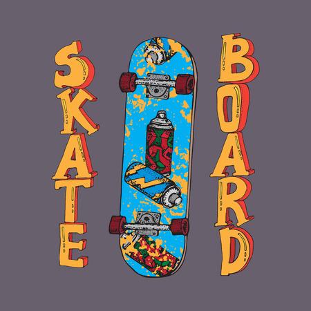 Skateboard hand drawn vector illustration. Doodle Longboard, pennyboard. Lettering skateboard. For poster, t-shirt and textile. Ilustração