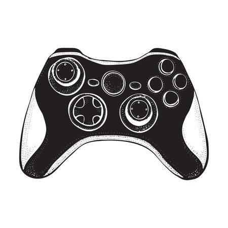 Gamepad joystick game controller isolated on white. Doodle style illustration hand drawn silhouette vector for typography, t-shirt, graphics. Foto de archivo - 134557799