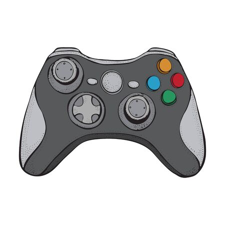 Gamepad joystick game controller isolated on white. Cartoon style illustration hand drawn vector for typography, t-shirt, graphics Foto de archivo - 134557800