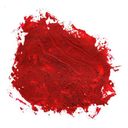 Red Oil paint spot on a white background. Abstract hand painted acrylic daub pattern. Stock fotó