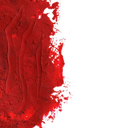 Red Oil paint spot on a white background. Abstract hand painted acrylic daub pattern. Banque d'images - 134862835