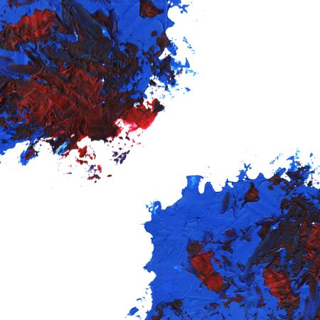 Blue Oil paint spot on a white background. Abstract hand painted acrylic daub pattern.