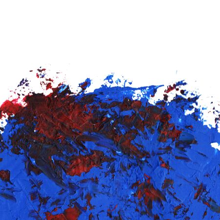 Blue Oil paint spot on a white background. Abstract hand painted acrylic daub pattern. Banque d'images - 134862836