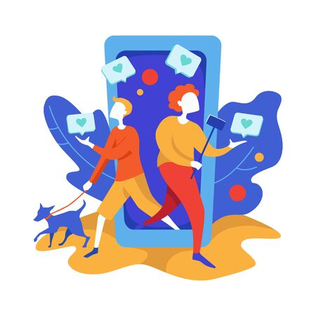 Concept of Social media marketing. Promotion method. Happy woman with selfie stick and man with dog give like comment and walking out of giant smartphone. Modern flat vector illustration