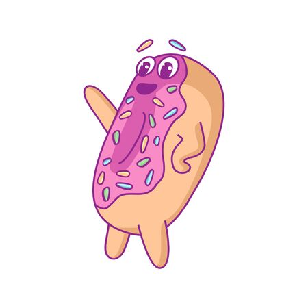 Cartoon happy smiling donut character with pink glaze making welcomes. For stickers, greeting cards, party invitations, posters, prints and books.