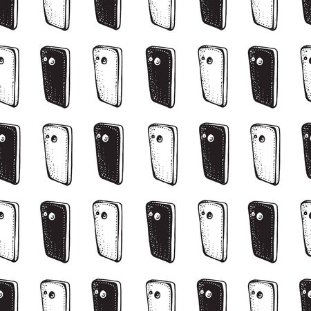 Smartphones seamless patterns. Electronic devices. Linear and silhouette mobile phones. Smartphone doodle vector illustration. Social media concept. Black and white