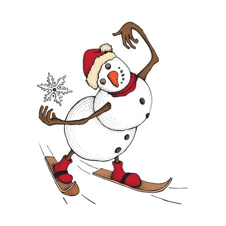 Funny Snowman skiing. Cute winter holiday. Character in a hat and knitted scarf catches a snowflake. Hand drawn doodle illustration isolated on white background. Merry Christmas and happy new year