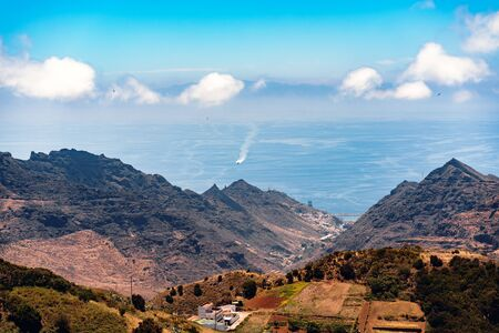 Holidays on the Canary Islands with amazing views from the heights of volcanic mountains on the Atlantic Ocean. The feeling of tranquility and beauty of nature.