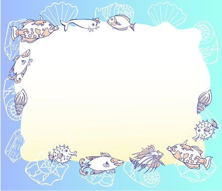 cockleshell: Background with with Fishes and Cockleshell  Vector