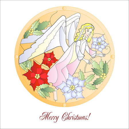 Card with Christmas Vitrail with Angel.Vector Illustration Vector