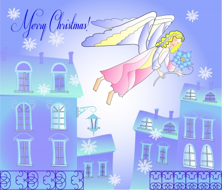 pink roof: Card with Angel at the Blue City.Vector Illustration Illustration