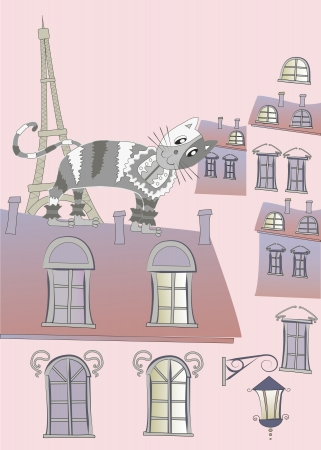 Cat on a Roof of Paris Vector Illustration Vector