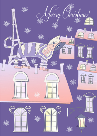 Cat on a Roof of Winter Blue Paris Vector Illustration Vector