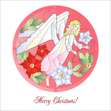 Christmas Vitrail Red with Angel Vector Illustration Vector