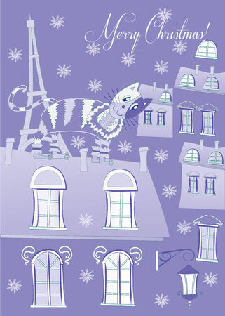 Blue Cat on a Roof of Winter Paris Vector Illustration Vector