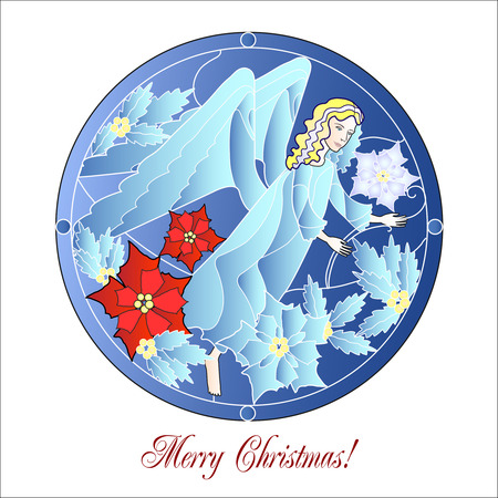 Card Blue Stained Glass Windows with Christmas Angel Vector Illustration Stock Vector - 24429292