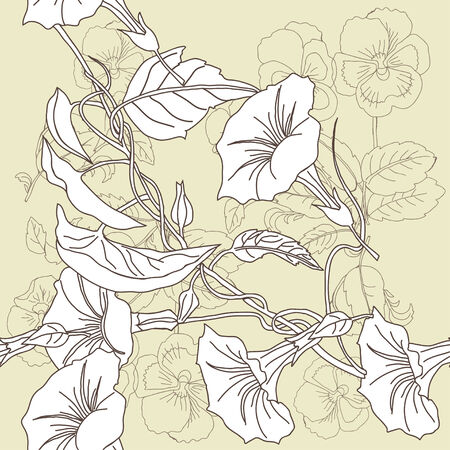 pansies: Seamless pattern with pansies and bindweed Vector Illustration Illustration