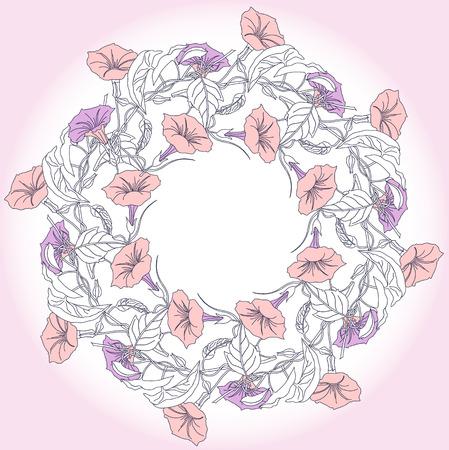 bindweed: Wreath with blue pink bindweed  Vector illustration Illustration