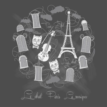tour eiffel: Background with Tour Eiffel on chalkrboard.Vector illustration