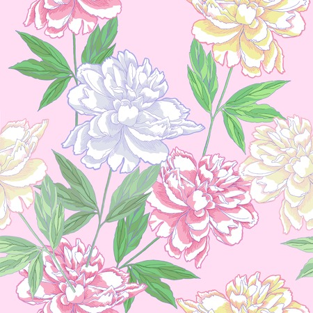 Pink Seamless pattern  with peonies. Vector Illustration Vector