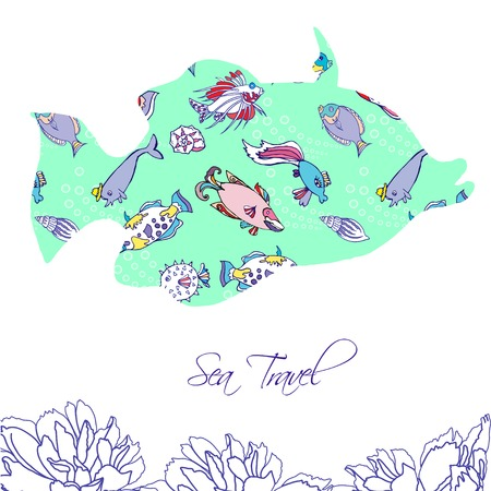 Sea Background with blue fishes. Vector Illustration