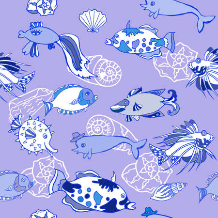 cockleshells: Seamless pattern  with white cockleshells. Vector illustration