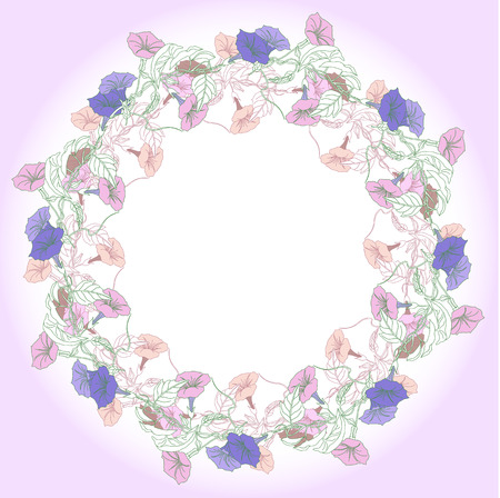 bindweed: Wreath with pink and blue bindweed. Vector illustration Illustration