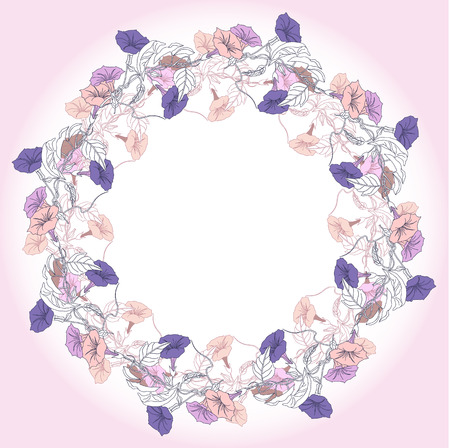 bindweed: Wreath with violet and pink bindweed. Vector illustration