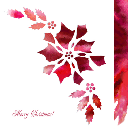 peper: Background  with red poinsettia flowers. Vector watercolor illustration Illustration