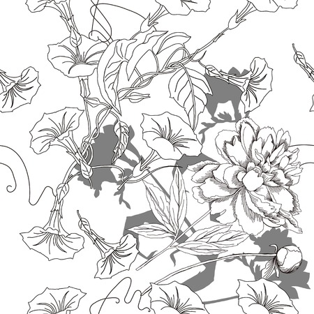 flower sketch: Black and white seamless pattern with flowers. Vector illustration Illustration