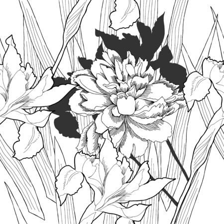 Black and white seamless pattern with flowers. Vector illustration Vector