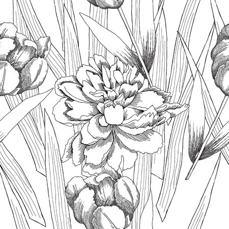 Black and white seamless pattern with flowers. Vector illustration Vectores