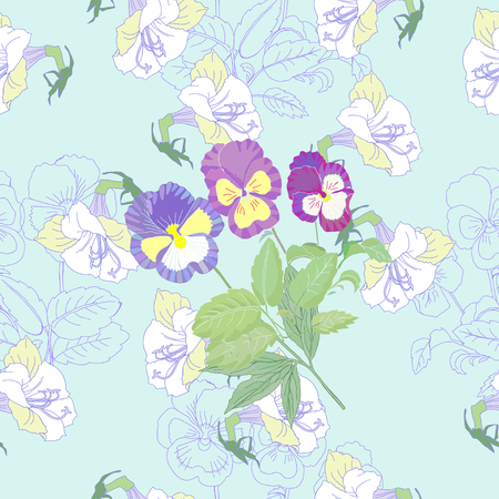 Blue Seamless pattern  with flowers and pansies. Vector