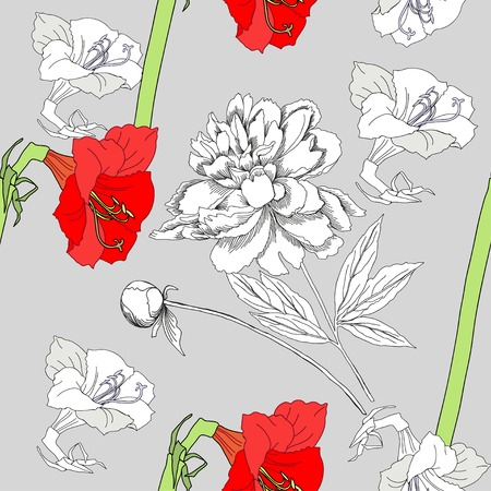 flower print: Seamless pattern  with amaryllis and flowers. Vector Illustration Illustration