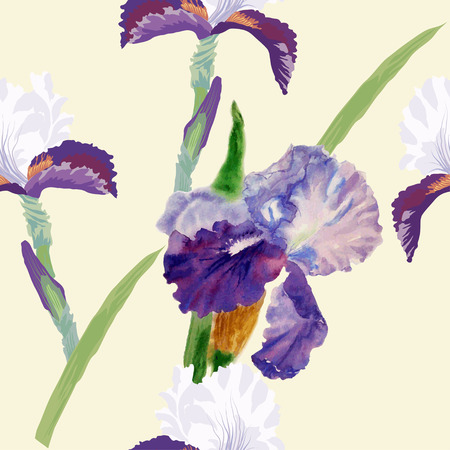 Seamless pattern with watercolor irises. Vector illustration Vector