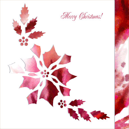 peper: Background  with paper poinsettia flowers. Vector watercolor illustration