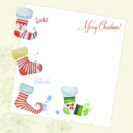 christmas watercolor: Bacrground with Christmas watercolor socks.Vector watercolor illustration