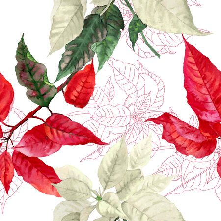 christmas watercolor: Seamless pattern  with red poinsettia plant. Vector watercolor illustration Illustration