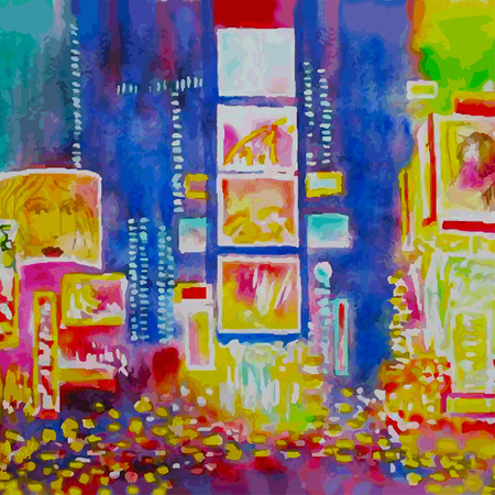 New York city.Times Square. Vector watercolor illustration Vectores