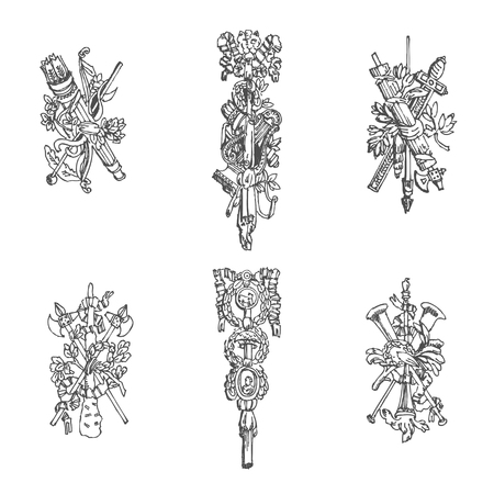 architectural elements: Sketches of architectural elements in classic style. Vector Illustration Illustration