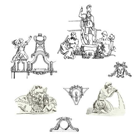 architectural elements: Bocetos de elementos arquitect�nicos y esculturas en un estilo cl�sico. Ilustraci�n vectorial