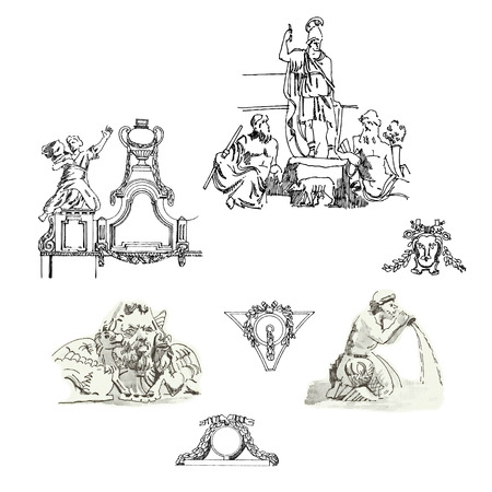 architectural elements: Sketches of architectural elements and sculpture in classic style. Vector Illustration