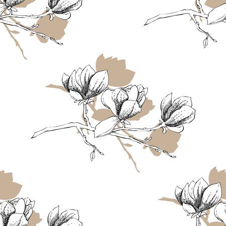 magnolia: Seamless pattern with magnolia. Vector Illustration