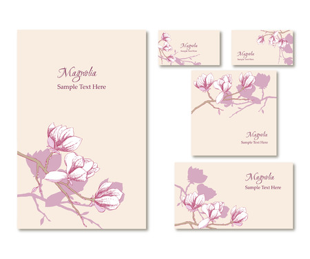 headed: Set of vector template corporate identity with magnolia. Background for printed media design. Banner, business card, flyer, invitation, greeting card, postcard. Vector Illustration