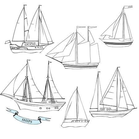Ships. Set of sketches black and white. Vector Illustration Vector